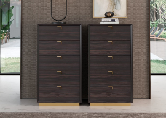5-drawers chiffonier in ebony wood with stainless steel baseboard. Mod. HIBA
