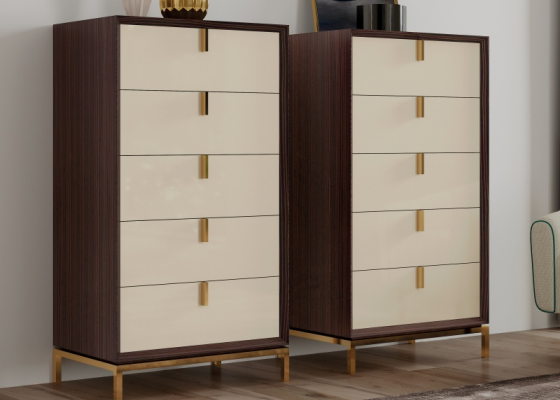 5-drawers chiffonier in ebony wood with stainless steel bases. Mod. YASSIRA
