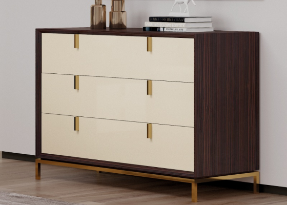 3-drawer dresser in ebony wood with stainless steel base. Mod. YASSIRA