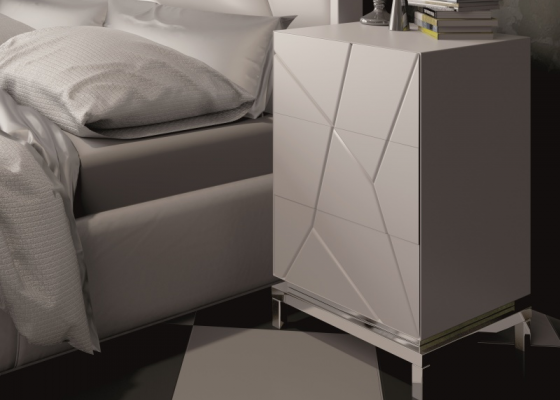 Lacquered bedside tables with 3 drawers.Mod: NADUA