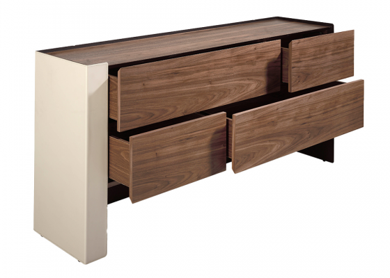 Chest of drawers in walnut wood and recycled leather. Mod: GIANNINA