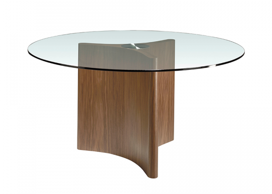 Round dining table with  tempered glass top and solid walnut-colored pine wood base.Mod: PIANA