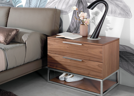 Walnut wood bedside tables with 2 drawers with chromed steel structure and handles.Mod: GIO