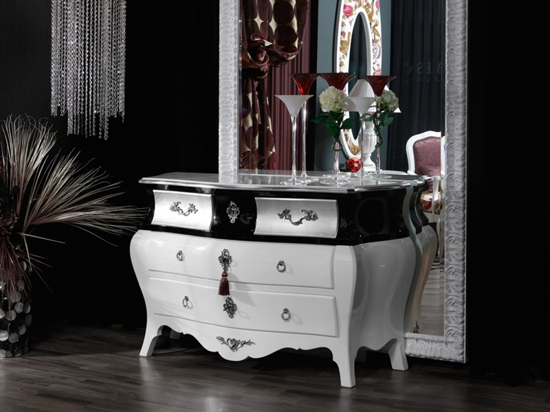 commode finition blanc brillant noir et argent mod 4501. Black Bedroom Furniture Sets. Home Design Ideas